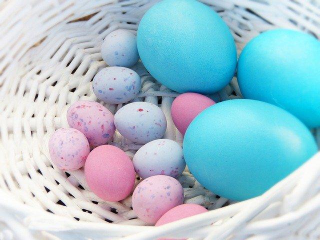 des œufs colorés sont dans un panier